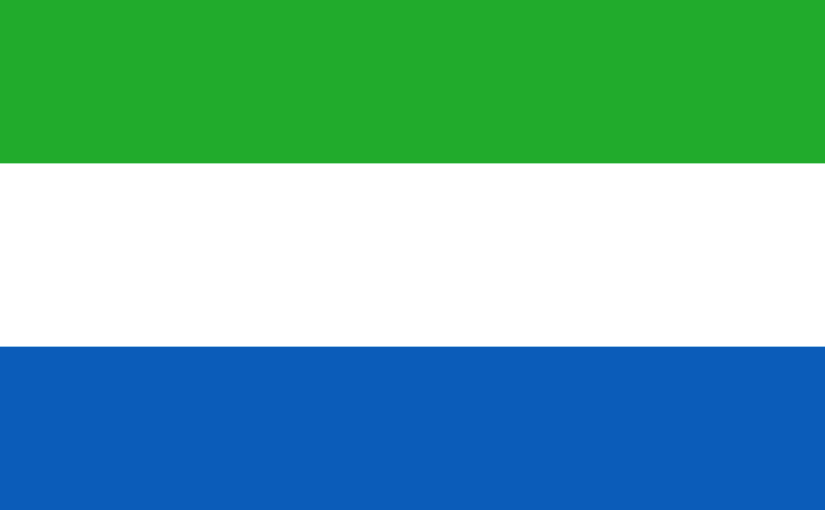The flag of Sierra Leone consists of three horizontal green, white and blue bands.