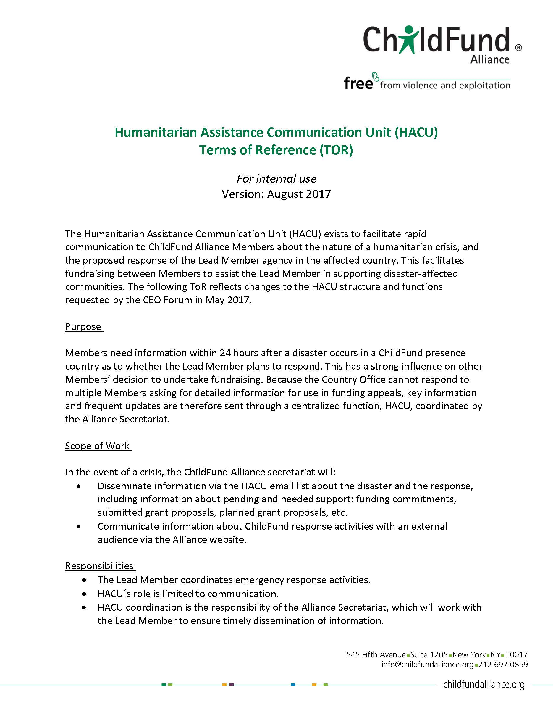 Humanitarian Assistance Communication Unit (HACU) Policies & Guidelines thumbnail