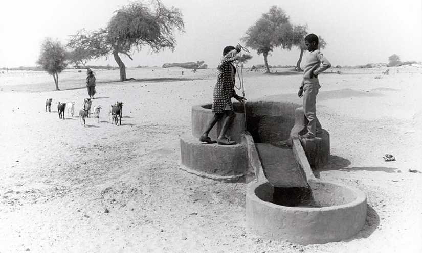 Kids pull water from a well