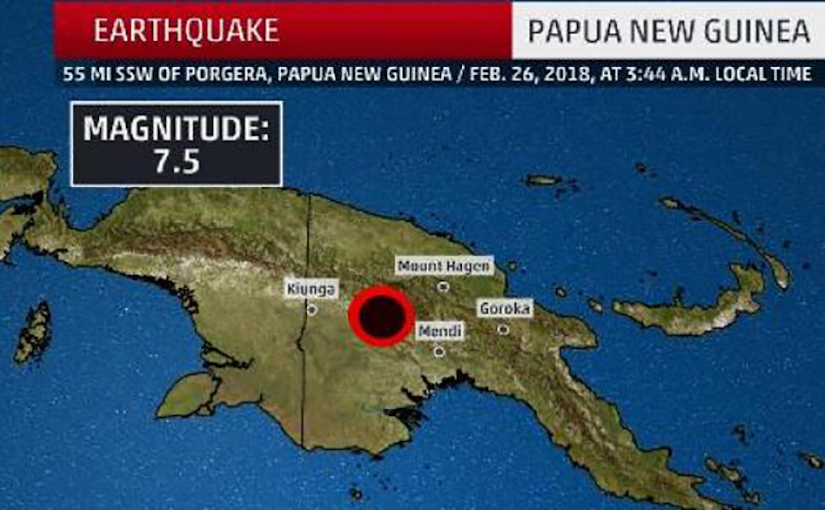 Map of Papua New Guinea showing where earthquake hit in February 2018