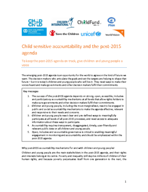 Child Sensitive Accountability and the Post-2015 Agenda thumbnail