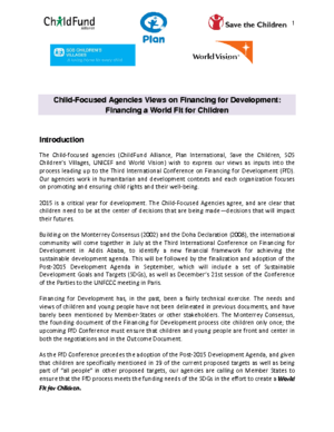 Statement: Child-focused Agencies Views on Financing for Development thumbnail