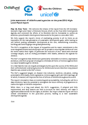 Statement: ChildFund Alliance and other Organisations Respond to the High-Level Panel Report on the Post-2015 Agenda thumbnail