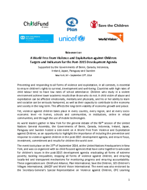 Event: A World Free from Violence and Exploitation against Children: Targets and Indicators for the Post-2015 Development Agenda thumbnail