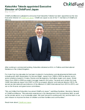 Press Release: Katsuhiko Takeda Appointed Executive Director of ChildFund Japan thumbnail