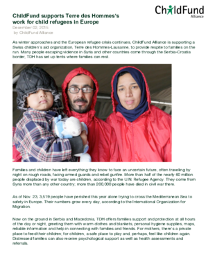 Statement: ChildFund Supports Terre des Hommes\'s Work for Child Refugees in Europe thumbnail