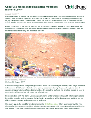 Statement: ChildFund Responds to Devastating Mudslides in Sierra Leone thumbnail