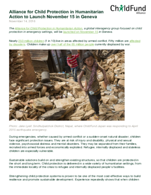 Press Release: Alliance for Child Protection in Humanitarian Action to Launch thumbnail