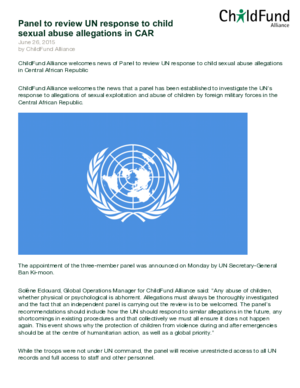 Statement: Panel to Review UN Response to Child Sexual Abuse Allegations in CAR thumbnail