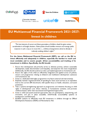 EU Multiannual Financial Framework 2021-2027: Invest in children