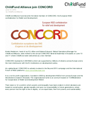Statement: ChildFund Alliance Join CONCORD thumbnail