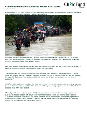 Statement: ChildFund Alliance Responds to Floods in Sri Lanka thumbnail