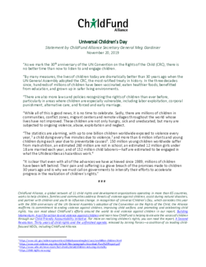 Statement: Universal Children\'s Day 2019 thumbnail
