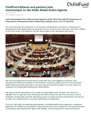 Joint Communiqué: The Addis Ababa Action Agenda thumbnail