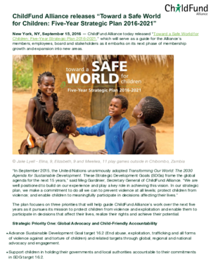 Press Release: ChildFund Alliance Releases \
