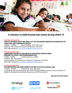 A selection of child-focused side events, UNGA 73 (2018) thumbnail