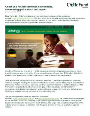 Press Release: ChildFund Alliance Launches New Website, Showcasing Global Reach and Impact thumbnail