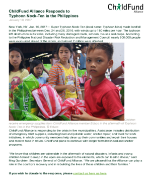 Statement: ChildFund Alliance Responds to Typhoon Nock-Ten in the Philippines thumbnail
