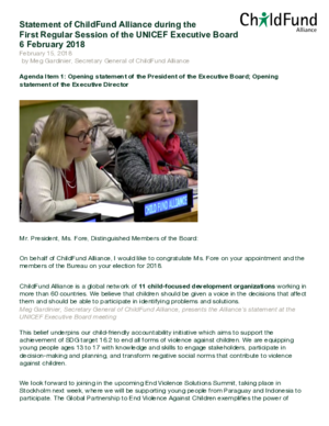 Remarks: First Regular Session of the UNICEF Executive Board Agenda Item 1 thumbnail